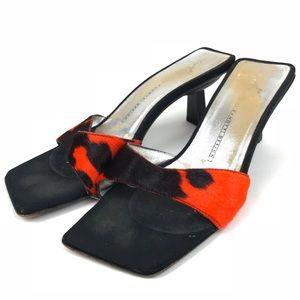 Giuseppe Zanotti Black Orange Calf Hair Mule Heels